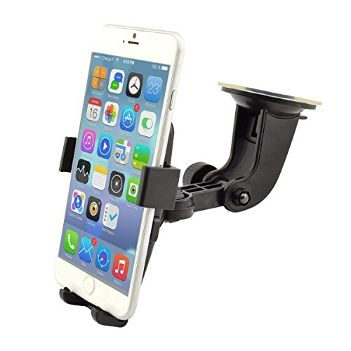 Best Car Phone Holder in Car Holder Car Mount Universal Cradle Windshield Apple , Samsung , HTC Adjustable Windshield Holder Cradle with Strong Sticky Pad for iPhone 7/6S/6s Plus/6/6 Plus/5S/5C/SE, Galaxy Note 4/3, Galaxy S5 S6/ S6 Edge/S7/S8 Edge and Other Android Smart Phone