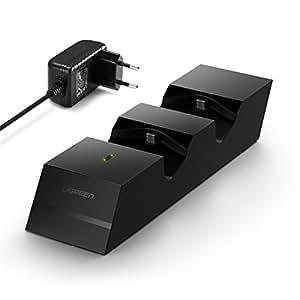 UGREEN PS4 Controller Ladestation mit 5V 2A Netzteil Docking Station Dualschock PS4 Ladegerät Charger Stand mit LED Anzeige für Playstation 4/ PS4 Pro/ PS4 Slim wirless Controller Gamepad Schwarz