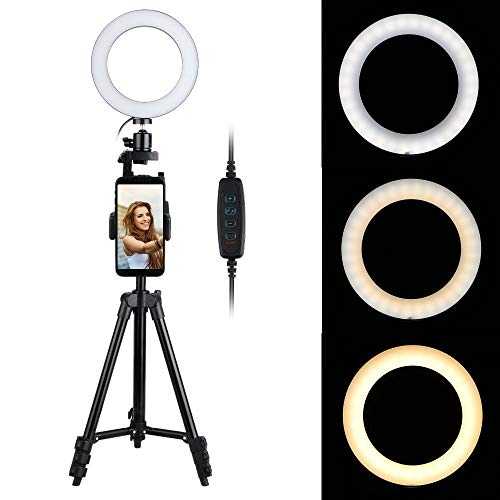 Thlevel 6' Ringlicht mit Stativ für Selfie-Make-up, Live-Stream und YouTube-Video Dimmbare...