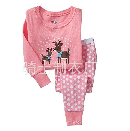 Mädchen Rentier Pyjamas Sets Kinder Kleidung Set Weihnachten Baumwolle Kleinkind Pjs Dot Nachtwäsche Rosa 6-7Y (Mädchen Größe 12 Weihnachts-schlafanzug,)