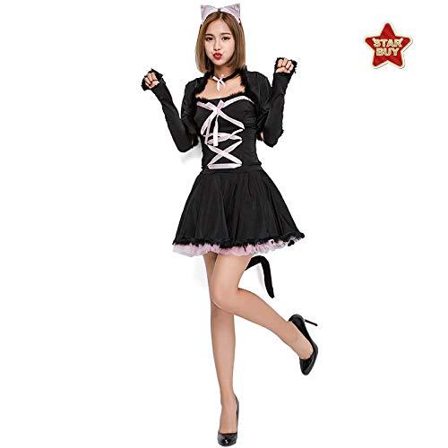 COSOER Nettes Catwoman Cosplay Kostüm Schwarze Katzen-Bühnenshow Die Weibliche Abnutzung Halloweens - Nette Catwoman Kostüm