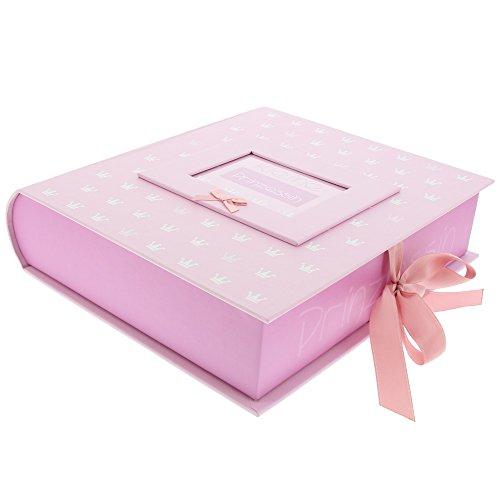 Goldbuch Baby-Sammelbox mit Fensterausschnitt, Kleine Prinzessin, 26 x 24 x 6,5 cm, Mit 3 Schubern & Tasche, Kunstdruck mit Relieflack, Rosa, 85089