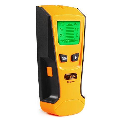 Dr.Meter F1-1 Pinne Finder mit Hintergrundbeleuchtung Stud Metall AC Wire Scanner Wand Stud Finder Electronisch Stud Sensor,Gelb (Stud-scanner)