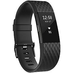 Fitbit Charge 2 Edición Especial - Pulsera de Actividad física y Ritmo cardiaco Unisex, Color Negro/Gris Plomo, Talla L