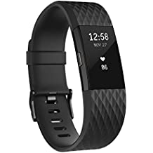 Fitbit Charge 2 Edición Especial - Pulsera de actividad física y ritmo cardiaco unisex, color negro / gris plomo, talla L