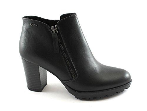 Igi&Co 88660 Chaussures Femmes Noires Bottes Bottes en Cuir Glissière Latérale Nero