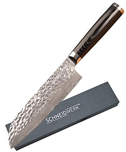 SCHNEIDWERK Santoku-Messer 31,5cm gehämmert Damastmesser, Damaststahl Küchenmesser extrem scharf in Geschenk-Box, Kochmesser Hammerschlag Damast Rostfrei