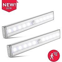 B.K.Licht 2x LED Schrankbeleuchtung | Bewegungsmelder | Schranklicht | Wandlicht | Vitrinenbeleuchtung | Nachtlicht mit Bewegungssensor | 2er Set