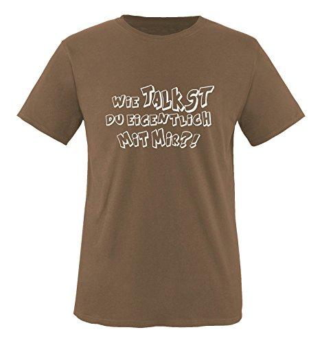 Comedy-Shirts - WIE Talkst Du EIGENTLICH MIT Mir ?! - Herren T-Shirt - Braun/Weiss Gr. S