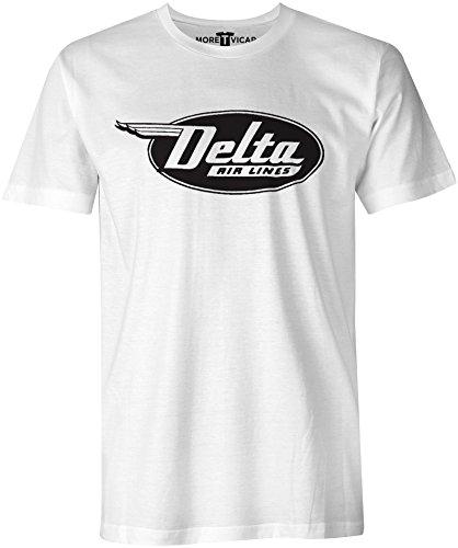 More T Vicar Delta Airlines - Herren Retro Verkehrsflugzeug Logo T Shirt - Fluggesellschaften, Weißes T-shirt