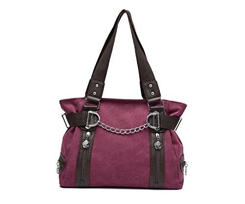 Spalla Da Donna- tela-Borse della borsa delle signore Crossbody Totes Vintage borsa ,Hobo Borse Donna e Uomo da Spalla Borsa Tela College Stile Cremisi