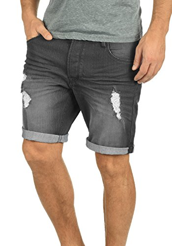 !Solid Toy Herren Jeans Shorts Kurze Denim Hose Mit Destroyed-Optik Aus Stretch-Material Slim Fit, Größe:L, Farbe:Dark Grey (9650)