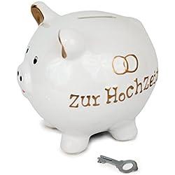 Sparschwein aus Dolomit weiß gold, 14 x 13 cm, Hochzeit Ringe Spardose Sparbüchse