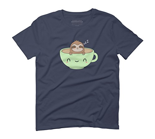 Cute and Funny Coffee Sloth Men's Graphic T-Shirt - Design By Humans Navy