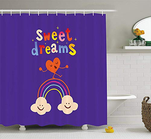 BUZRL Sweet Dreams Shower Curtain, Cute Cartoon Heart Dancing on a Rainbow Between Two Smiling Clouds Colorful, Cloth Fabric Bathroom Decor Set with Hooks, 60W X 72L Inche, Multicolor