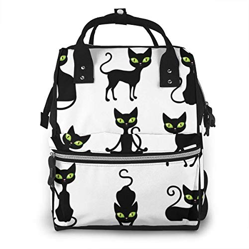 UUwant Mama Windel Rucksack Icon Black Cats Set Cute Pets In Various Poses with Big Green Eyes Isolated Illustration Diaper Bags Large Capacity Diaper Backpack Travel Nappy Bags Mummy Backpack