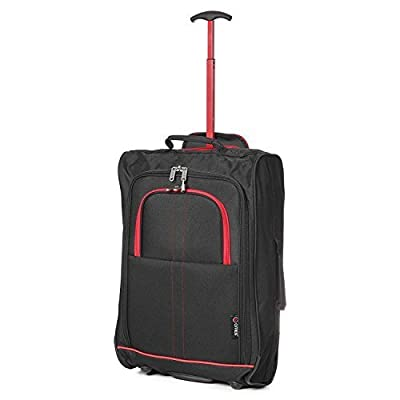 TB023-830 BLACK/RED TRIM 21? Cabin Trolley Bags