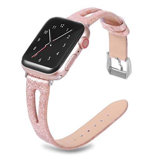 WAOTIER für Apple Watch 40mm Armband Leder Ersatzarmband Glitzer Sequin Armband für Apple Watch Series 1 2 3 4 mit Metall Verschluss Slim Armband Kompatibel für iWatch 40mm für Frauen Männer (Grau)