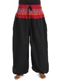 - Pantalon sarouel elastique bouffant noir sari rouge Maka -
