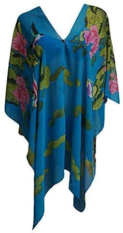 Femme de Mousseline Imprimé Oiseau/Floral Couvrir jusqu'à Caftan Poncho (Turquoise)