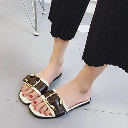 Hunpta Damen Sommer Schuhe Peep-Toe Halbschuhe römischen Sandalen Damen Flip Flops Weiß
