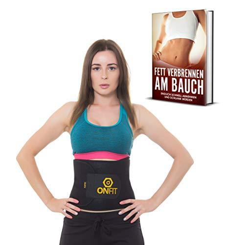 OnFit Bauchweggürtel Männer & Frauen Fitnessgürtel | Schlankheitsgürtel für Den Flachen Bauch | Slimming Schwitzgürtel | inkl. Ernährungsguide! + GRATIS eBook!