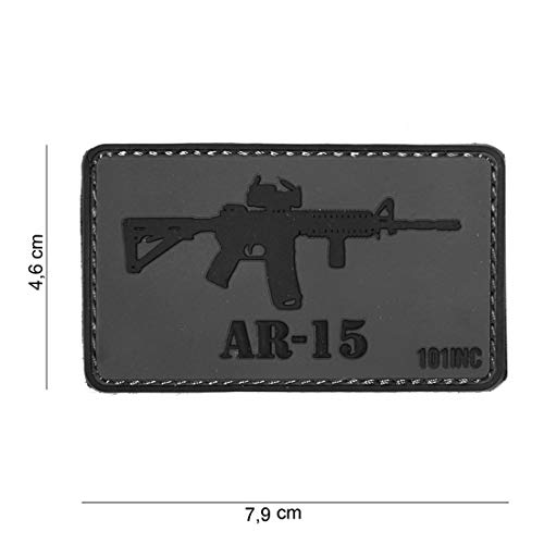 Tactical Attack PVC AR-15 grau Softair Sniper PVC Patch Logo Klett inkl gegenseite zum aufnähen Paintball Airsoft Abzeichen Fun Outdoor Freizeit -