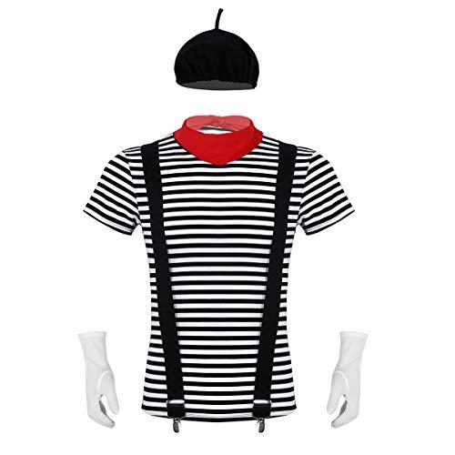 Shirts Mime Kostüm Für - CHICTRY 5Pcs Herren Pantomime Kostüm French Mime Fancy Dress Gestreifter Shirt & Baskenmütze & Hosenträger & Halstuch & Handschuhe Gr. M-XXL Schwarz Medium