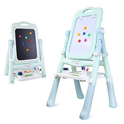 Homfa lavagna magnetica per bambini 2-in-1, lavagna magnetica cancellabile pieghevole lavagna sketchpad con modello di pittura, lavagna con piedini regolabili, giocattoli educativi del bambino