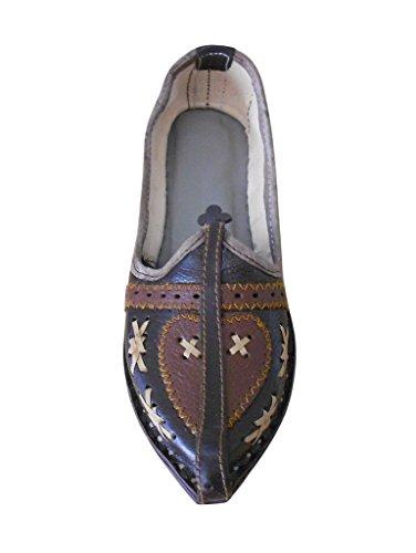KALRA Creations Herren Traditionelle Handgemachte Leder indischen ethnischen Schuhe Braun