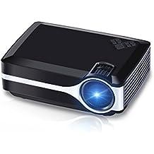 Beamer, Crenova XPE495 Nachrüsten Beamer Mini Tragbarer Heimbeamer / Videoprojektor 1800 ANSI Lichtausbeute 180'' TV Beamer unterstützt 1080P Full HD für Video TV Filme Partys Spieleabende Heimkino Home Entertainment mit PC Laptop USB/SD/AV/HDMI/VGA Eingang