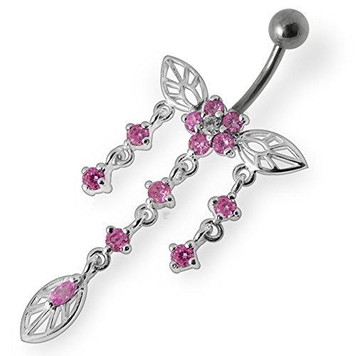 Papillon de cristal Pierre Trendy Flower Design en argent Sterling 925 avec barres de ventre en acier inoxydable Pink