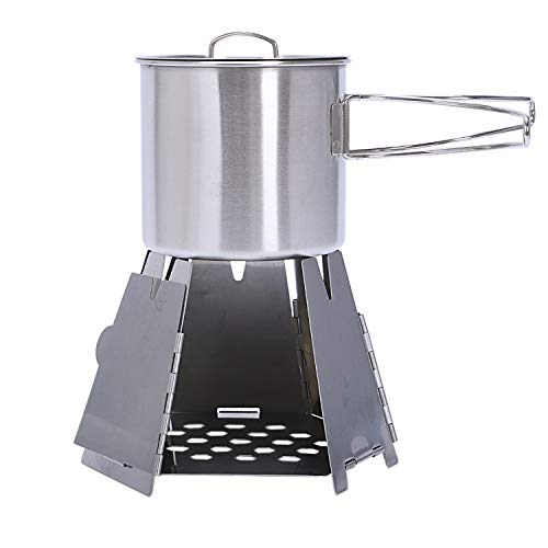 TOOGOO Au?en Camping Kocher Kit Mini Falt Hexagon Holz Ofen + Kaffee Tasse Rostfrei Stahl Tragbarer Ofen Kochen BBQ Picknick Brenner -