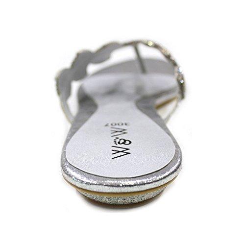 & W avec Strass pour Femme Mariage Soirée Mode Sandales (Noir, Argent, Or, violet, rouge) ESSIA Argent - argent