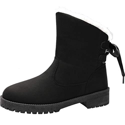 Dorical Damen Winter Schneestiefel,Damenschuhe Snow Boots Winterschuhe, Strapazierfähiges und atmungsaktives Isotherm-Futter und Gummilaufsohle Gr 35-43(Schwarz,40 EU)