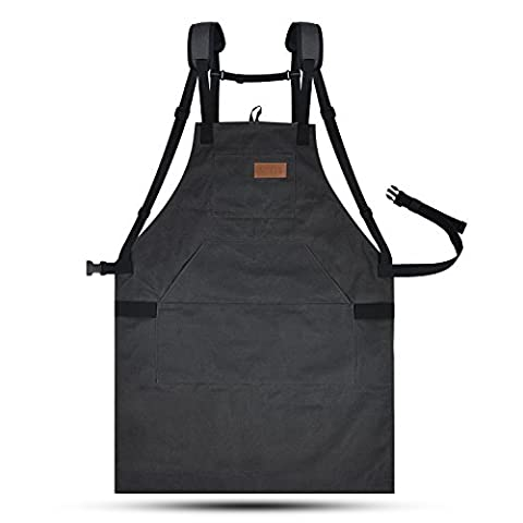 LURAD Tool Apron Waterproof with Waist Adjustments Padded Shoulder Strap Workshop Apron with Pockets for Men & Women -