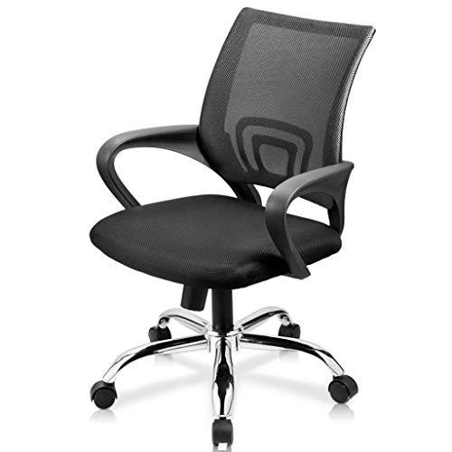 Loywe Bürostuhl Schreibtischstuhl, ergonomischer Drehstuhl mit Netzrücken, Wippfunktion Feste Armlehne höhenverstellbar, Schwaz Chefsessel mit Mesh Netz in Schwarz, JLB011-SS-NEW