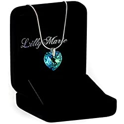 LillyMarie Damen Silber-Kette, Sterling-Silber 925, original Swarovski Elements Herz-Anhänger, blau, mit Schmuck-Etui, Geschenk-Idee für Frau oder Freundin