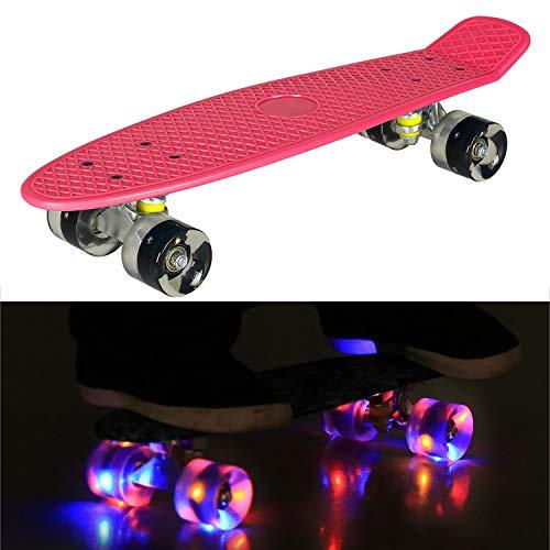 55cm/22 Mini Cruiser Board Retro Skateboard Komplettboard mit LED Leuchtrollen für Jugendliche Kinder und Erwachsene (Rosa Deck - Schwarz Rollen)