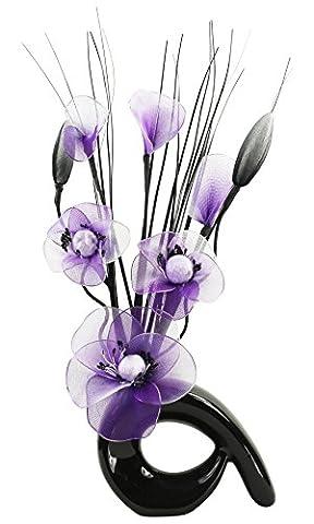 Flourish 793241Mini vase en spirale avec arrangement de fleurs artificielles 32 cm, Verre, Black/Purple & White, 11x11x32 cm