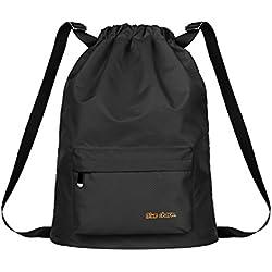 Bolsa de almacenamiento para traje de baño / bolsa de baño / húmedo / para separación en seco / bolsa de playa / bolsa impermeable / para hombre y mujer al aire libre deportiva / Mochila para hombro doble (BK)