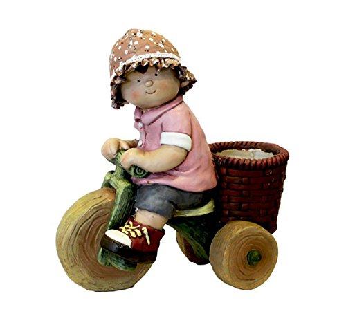 keyhome statuetta da giardino decorazione in resina bambina con triciclo - altezza cm 45