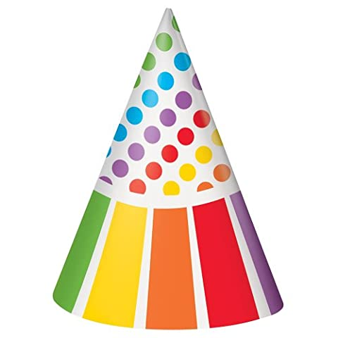 Rainbow Party Hats, Pack of 8