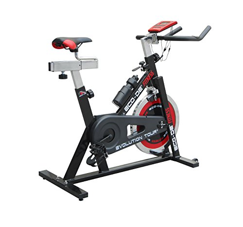 ECO-DE Bicicleta de Spinning Evolution Tour. Uso semiprofesional con pulsómetro, Pantalla LCD y Resistencia Variable. Estabilizadores. Completamente Regulable. Rueda de inercia de 21kgrs