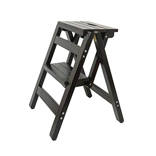 RMJAI Faltbarer 2-Stufen-Hocker aus massivem Holz Leiter Stuhl Multifunktions-Holzleiter Regale Dekoration und Bibliothek Leiter Trittleiter Tritthocker (Color : B) - Bibliothek Regale