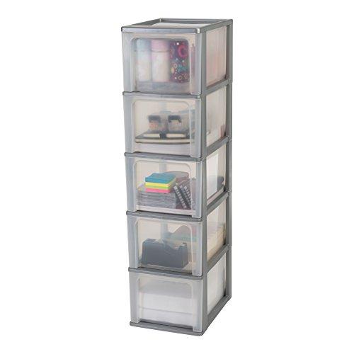 Iris Organizer Chest OCH-2500 Schubladencontainer-/ schrank, Kunststoff, silber / transparent, 35,5 x 26 x 99,5 cm