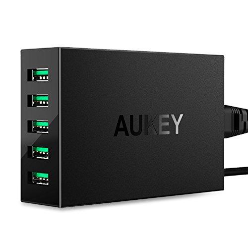 AUKEY Cargador USB 50W / 10A 5 Puertos con TecnologíaAiPower para iPhone iPad HTC LG HUAWEI Xiaomi Tableta y más