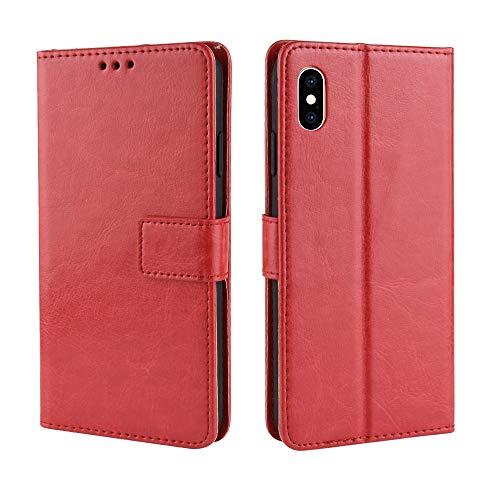 Flip Case für iPhone XS Max 6,5 Zoll Crazy Horse Muster Textur Schutz Flip Kunstleder Wallet Style Handy-Tasche mit kurzem Sling (Color : Rot) -