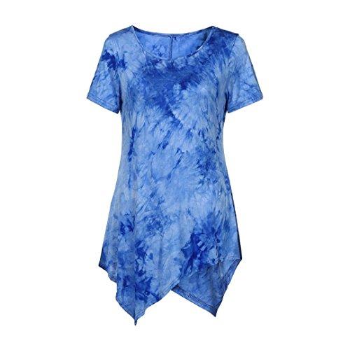 MRULIC Damen Lose Asymmetrisch Curved Rock Oberteile Bluse Rundhals Casual Loose Kleid (L, Blau)
