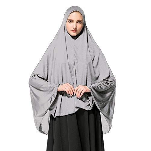 HLIYY Femmes Prière Khimar Prêt à Porter Long Hijab avec sous Foulard Foulard à Enfiler avec Bonnet intégré pour voilée châle Islamique Voile enfilable Bonnets Casqu